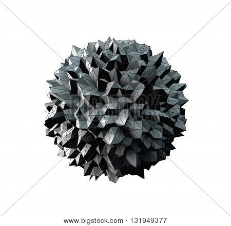 3D Illustration - Abstract irregular spherical shape isolated on white background