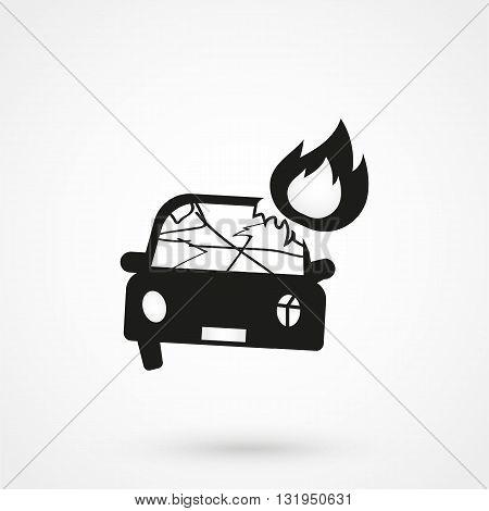 Car Crash Icon Black Vector On White Background