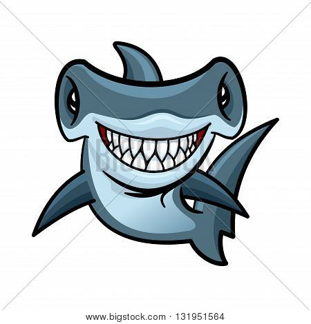Happy voracious cartoon hammerhead shark with charming smile of lethal sharp teeth. Funny marine animal character for children book or sea club mascot design