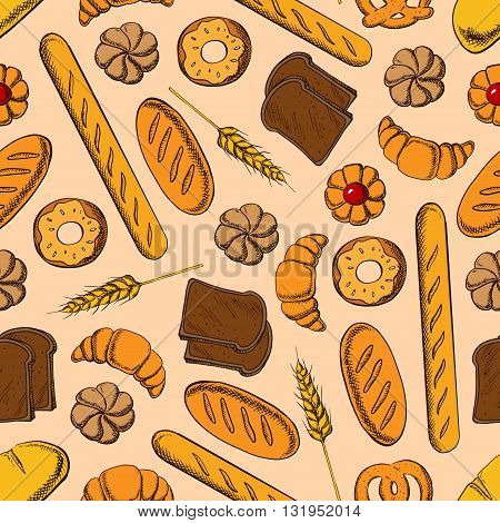 Seamless healthy rye bread slices and long loaves of multigrain bread, glazed donuts and buns, croissants, baguettes and butter cookies with fruity jam pattern on beige background with wheat ears