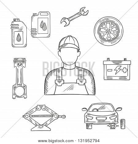 Professional auto mechanic sketch icon for car service center or car workshop symbol design usage with wheel and motor oil, spanner and battery, engine piston and car stand on scissor jack