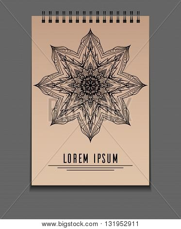 Template notebook on springs with freehand mandala and place for text. Vector element for your design