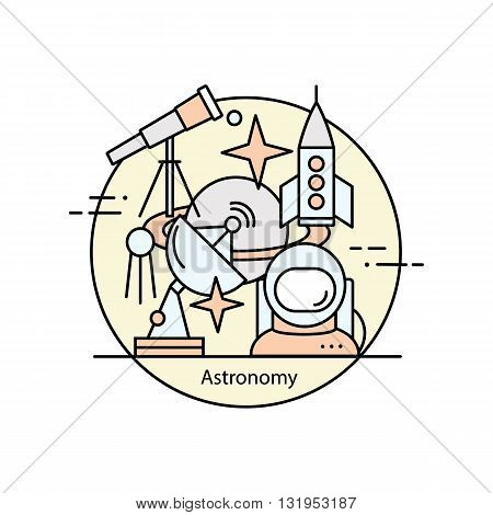 Modern color thin line concept of astronomy and space. Vector illustration with different elements on the subject astronomy. Graphic element for educational institutions, design books and magazines.
