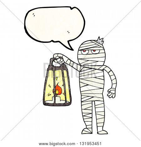 freehand speech bubble textured cartoon mummy poster