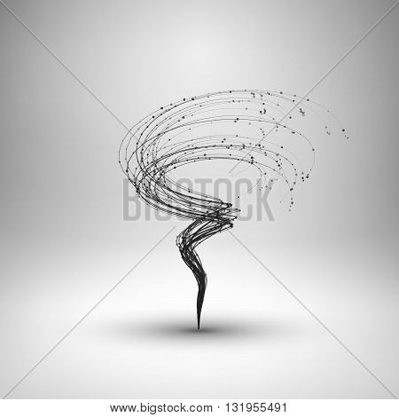 Tornado. Swirl with connected line and dots. Wired wavy structure. Technology connection concept. Vector abstract illustration.