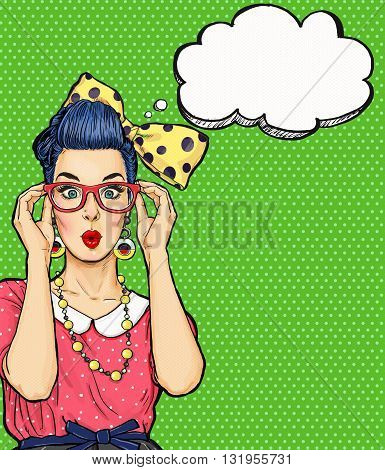 Pop Art girl  in glasses with thought bubble. Party invitation. Birthday card. Hollywood, Comic woman. Sexy girl.