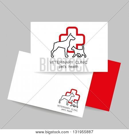 Veterinary medicine - logo design template for veterinary clinic. Business card template. Idea for veterinary, pet shop, pet clinic, pet care, or other pet help and etc. Vector design.