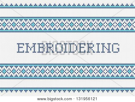 Decorative cross stitch needlework design. Handmade embroidering poster