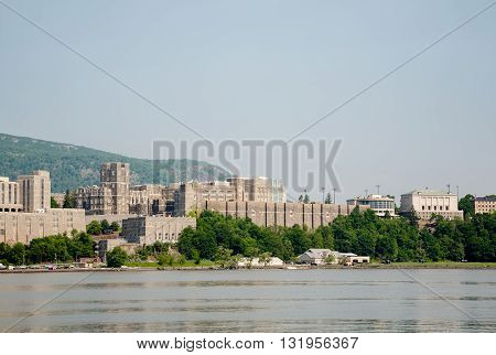 A view of West Point Military Academy and the Hudson River.