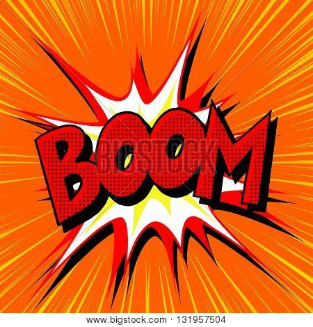Boom explosion comic book text pop art pop art retro vector. Boom vector
