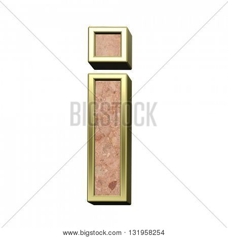One lower case letter from stone conglomerate with gold frame alphabet set isolated over white. 3D illustration.