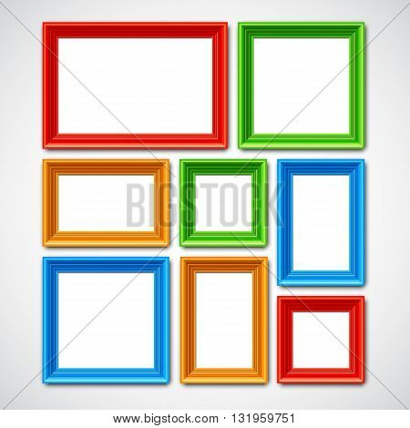 Collafe of color picture frames or borders for photo or painting