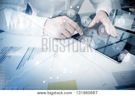 Account Department Work Online Process.Photo Trader working Market Report Documents Touching Screen Tablet.Using Graphics, Stock Exchanges Reports, Digital Interfaces.Business Project Startup.Horizontal