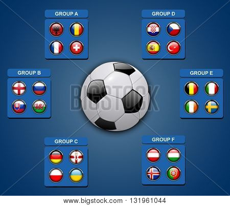 Flags buttons of football teams, vector icons for soccer game championship.