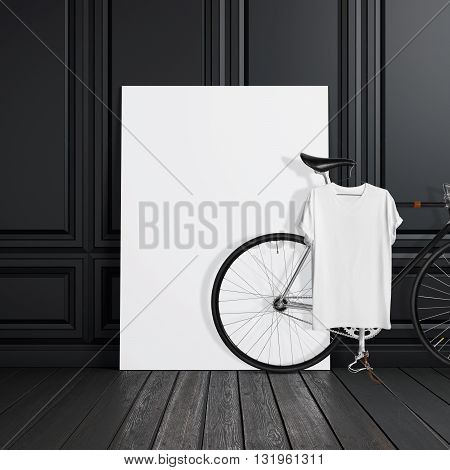 Photo Black Room Interior Modern Studio House with Classic bicycle.Empty White Canvas on Wood Floor.Blank Tshirt hanging on Bike. Horizontal mockup