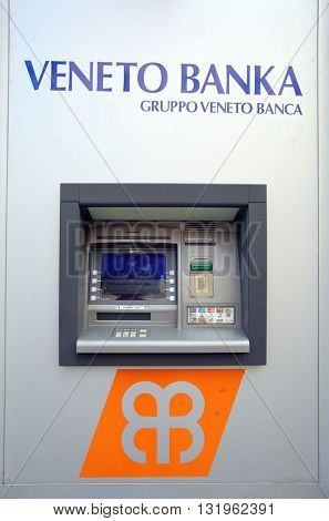 ZAGREB, CROATIA - MAY 26, 2016: A Veneto Banka  d.d. ATM machine.