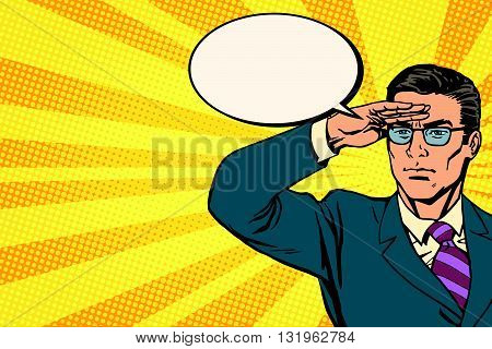 businessman lookout concept business pop art retro vector. The patrol leader is the boss. Business leadership