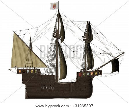 Side of San Buenaventura ship isolated in white background - 3D render