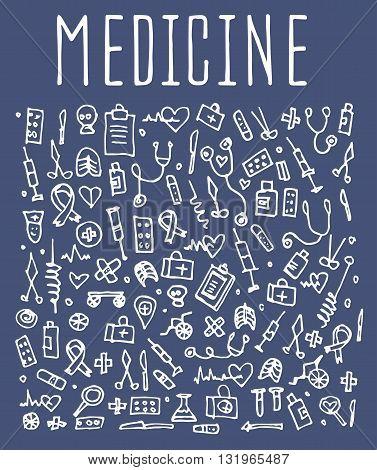 Hand drawn Medicine elements, seamless logo Medicine, Medicine doodles elements, Medicine seamless background. Medicine sketchy illustration