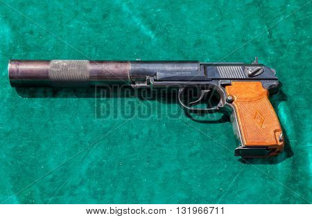 SAMARA RUSSIA - MAY 29 2016: Russian firearms. The PB silent pistol. PB is a Soviet silenced pistol based on the Makarov pistol design