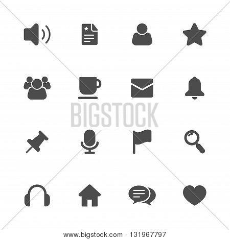 Miscellaneous flat gray icon set of 16