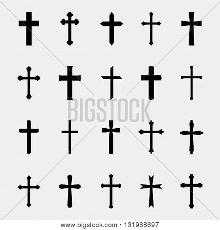Crosses a simple vector set. Collection of black crosses isolated on white background. Icons of christian catholic crosses. Silhouettes simple religious crosses.