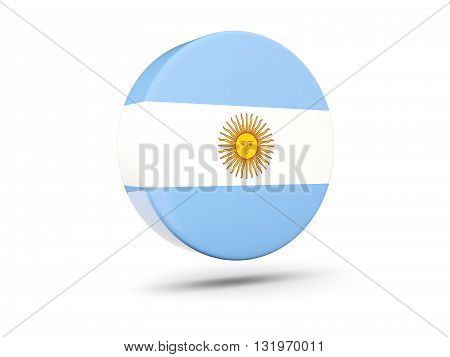 Round Icon With Flag Of Argentina