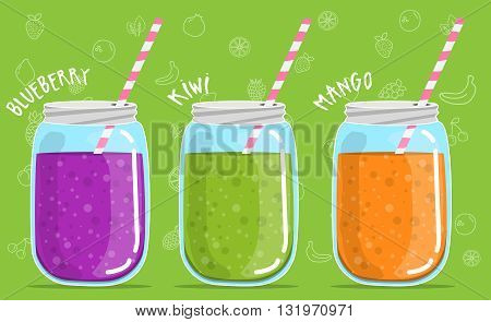 smoothies in glass jar Blueberry kiwi mango smoothies in glass jar