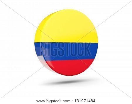 Round Icon With Flag Of Colombia