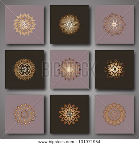 Set of design templates. Mandalas decorative elements set for flayers label invitation or cards. Oriental pattern stylized flower. Arabic Islamic Indian Turkish Pakistan ottoman motifs. Vector illustration
