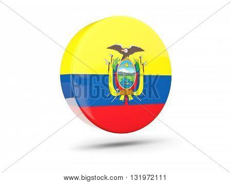 Round Icon With Flag Of Ecuador
