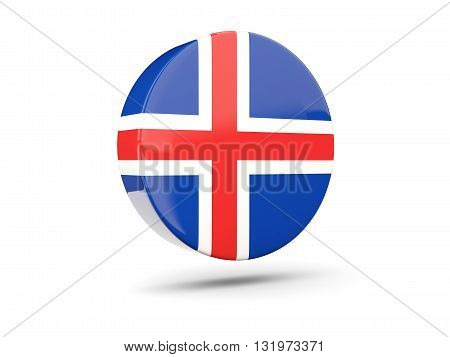 Round Icon With Flag Of Iceland