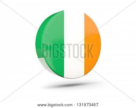 Round Icon With Flag Of Ireland
