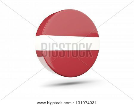 Round Icon With Flag Of Latvia