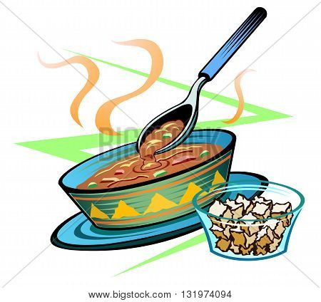 Bowl of thick stew, or bean dip, Mexican cuisine