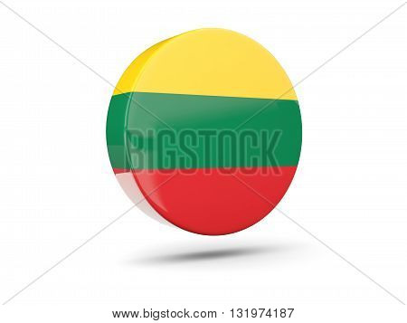 Round Icon With Flag Of Lithuania