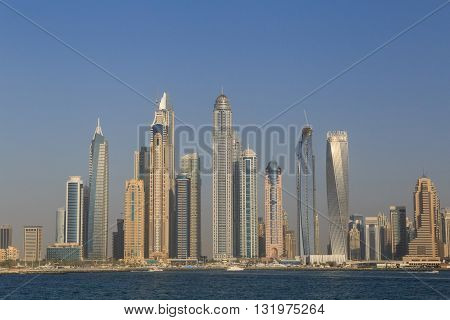 view on towers of district Marina in Dubai