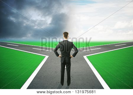 Different direction concept with businessman choosing between different roads under dull and bright skies. 3D Rendering