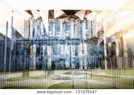 BERLIN GERMANY. MARCH 14 2016: Front Entrance of the Bundeskanzleramt in Berlin. Double exposure artwork of several photos to express the complexity of this important german building.