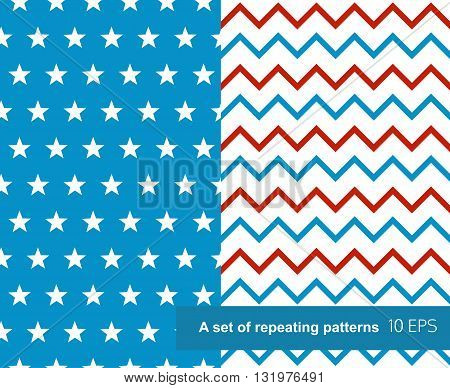 Seamless patterns in style of Independence Day of USA.