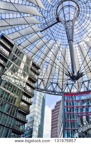 BERLIN GERMANY - FEBRUARY 16 2014: The Sony Center on Potsdamer Platz. Sony Center located at the Potsdamer Platz is a Sony-sponsored building complex opened in 2000 year.