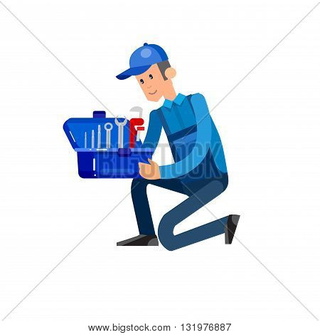 detailed character proffesional plumber men, plumber repair professional, plumber fixing water pipes. Vector plumber set. Illustration plumber character. poster