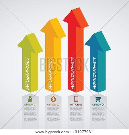 Vector info graphics - colorful graph, arrow pillar