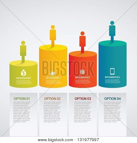 vector info graphics - colorful graph,cylinder, people