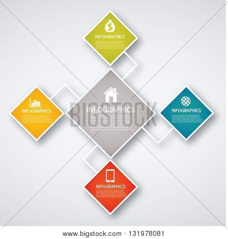 Vector Illustration: info graphics - colorful graph, quadrangle