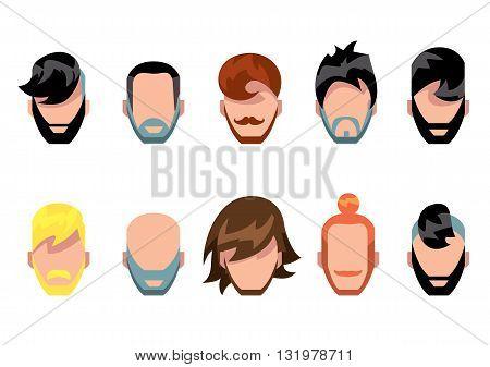 Hair style, beard and mestache avatart collection, vector illustration