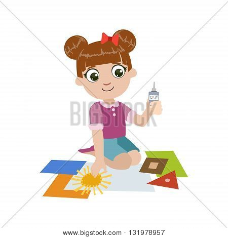 Girl Gluing The Paper Application Colorful Simple Design Vector Drawing Isolated On White Background