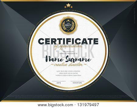 Certificate vector template. Diploma design. Graduation, achievement, success. Certificate document. Certificate design. Business document. Decorative certificate. Gold certificate. Certificate.