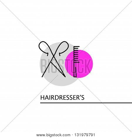 Vector hairdresser's logo isolated on white background. Artistic design insignia, symbol, label, icon. Simple flat logo hairdresser's, beauty salon, banner, flyer, magazine, card, barbershop.