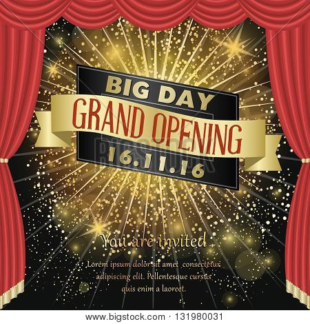 Grand opening celebration banner design vector illustration. Big day ceremony. Grand opening concept. Grand opening background.